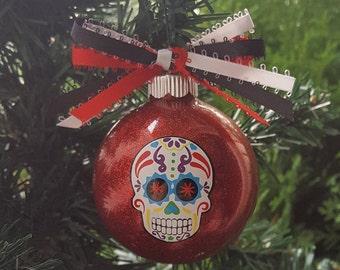 Sugar Skull Christmas Gift, Dia de los Muertos, Halloween Ornament, Calavera, Christmas Ornament, Day Of The Dead Ornament, Custom Ornament