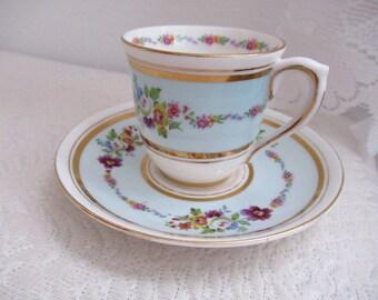 Colclough England Longton Blue Bone China Tea Cup and Saucer Set