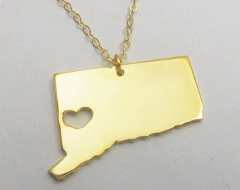 Gold Connecticut State Necklace,CT State Charm Necklace with A Heart,Connecticut State Love Necklace ,Custom Connecticut State Necklace