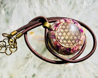 Orgonite® Orgone Pendant (Medium) - Rhodonite/Amethyst - FREE WORLDWIDE SHIPPING!