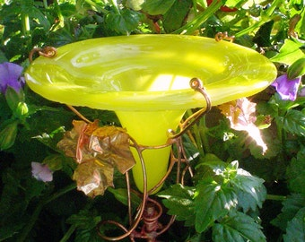 BIRTHDAY Gift, Stained glass, HUMMINGBIRD Feeder, Yellow, copper art, Garden Art, outdoor living, fused glass