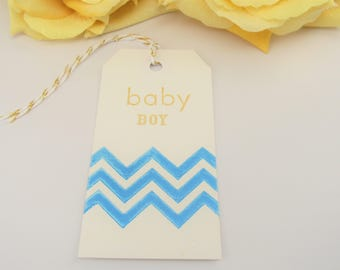 10 Blue and Gold Baby Shower Favor Tag , Chevron Baby Shower Gift Tag , Baby Sprinkle Thank You Tag , Sprinkle Baby Shower Bag Tag ,