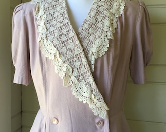 Vintage silk dress with lace collar