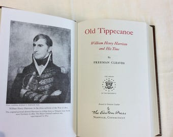"""c.1980's Old Tippecanoe From """"Library of the Presidents"""" Leather Gilded Binding. Silk Moire Papers 22k Gold on the spine. William Harrison"""