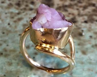 Raw Rose quartz Ring, yellow gold filled ring, pink gemstone ring, ooak ring, statement cocktail ring, raw gemstone ring - So long ago R2431
