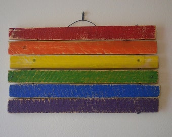 FREE SHIPPING**Rainbow Pride Flag- reclaimed wood, wall decor, LGBT, equality, love wins