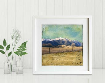 "Mountain Print: Mixed Media Photography, Colorado Print, Collegiate Mountain Range, Chaffee County, 8""x8"" or 12""x12"" print, ""Majesty"""