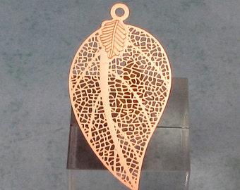 Laser Filigree Leaf Charm, Rose Gold, 2 Pc. RG30