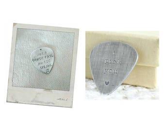 Custom Guitar Pick Boyfriend Gift for Musicians, I Pick You Custom Guitar Picks Him, Engraved Guitar Pick Keychain, Personalized Guitar Gift