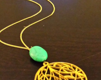 Turquoise Magnesite and Gold Necklace