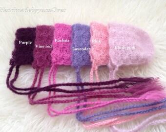 Mohair Silk Crochet/Knitt  Bonnet -  Photography Prop.Schell bonnet.Organic look bonnet.
