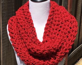 Red Infinity Cowl; Crimson Infinity Cowl; Red Crochet Cowl; Crochet Scarf; Women's Cowl; Handmade Cowl; Crimson Scarf