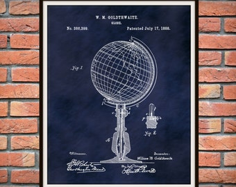 Patent 1888 Globe Art Print or Poster - Geography Wall Art
