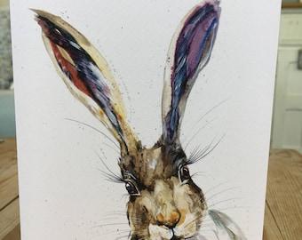 Wildlife Hares Art blank Watercolour print greetings card   designed by artist Nicola Jane Rowles  . Watercolour hare prints