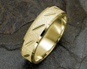 14K Yellow Gold Wedding Band Brushed Mens Ring Grooved Solid Gold Band Polished Edges Mens rings Custom Engraved Mens Wedding Ring 6mm band