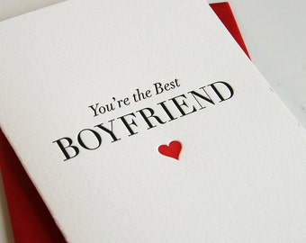 SALE Letterpress Valentine card for boyfriend - Best Boyfriend