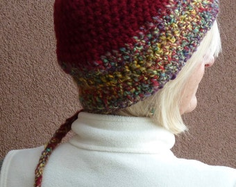 Hat that give you joy, winter ponytail crochet hats that are unique and original, burgundy winter hat with a tail, boho hat