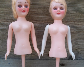 Vintage Blonde Half Doll on a Pick With Peek-A-Boo Eyes