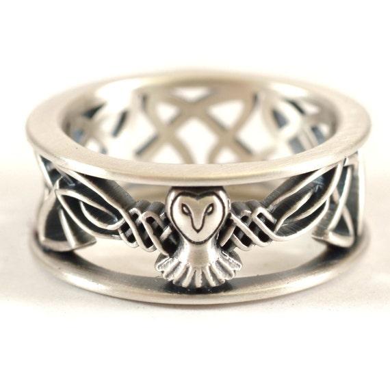 Sterling Silver Owl Wedding Band, Celtic Owl Ring, Mens Wedding Band, Irish Wedding Ring, Owl Jewelry, Celtic Knot Ring, Custom Size CR-1016