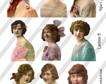 PNG Ladies Digital Collage Sheet Ladies No. 5 (Sheet no. L5) Instant Download