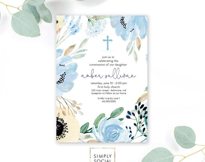 Blue Floral First Holy Communion Invitation - Floral Communion Invite Baptism Invite Peony Dusty Blue Printable Invitation Religious Cross