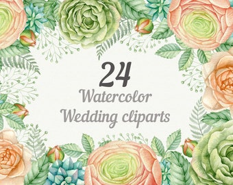 Wedding watercolor clipart with rose, Ranunculus and greenery.