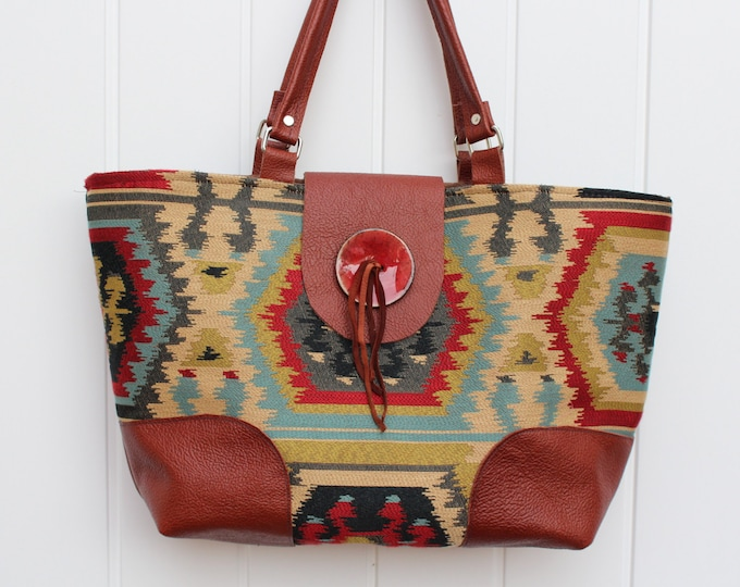 Tote in a Southwestern Woven Textile
