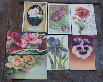 Vintage Flower Postcards, Floral Cards, 7 Vintage Postcards with Flower Designs, Great for Craft Projects and Spring Wedding Decor