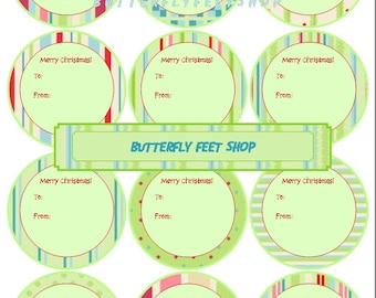 Printable Christmas Gift Tags, 2.5 inch Circles, Printable PDF, Digital Collage Sheet, Instant Download