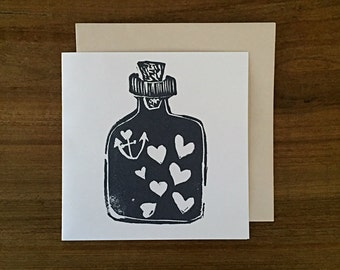 love in a bottle - notecard - hand printed - blank inside greeting card