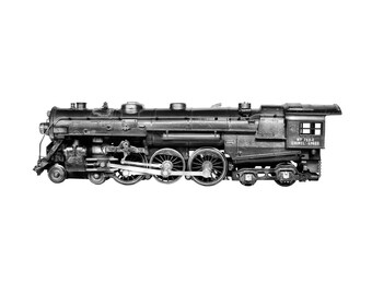 VINTAGE TRAINS - Industrial wall art - Steampunk decor - TrainEngine - O Gauge Trains - Train Print - Vintage Toy Trains