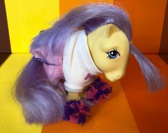 Vintage G1 My Little Pony Lemondrop Yellow Body Purple Hair Cheerleaders Outfit Hasbro 1983 Made in Hong Kong