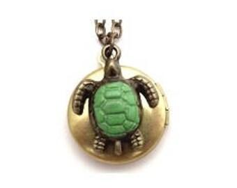 """Turtle Locket 20"""" Antiqued Brass Chain"""