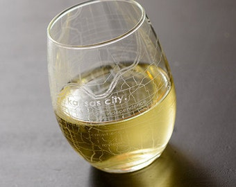 Kansas City Map Stemless Wine Glass