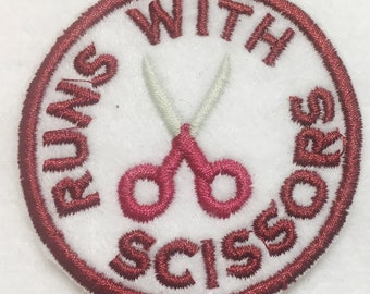"""Runs with Scissors Design #2 Embroidered Iron on Patch - Applique -  2.5"""" x 2.5"""""""