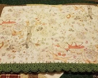 Crochet edge pillowcase Forest friends fox deer rabbit squirrel Nursery