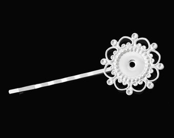"10 pcs. - Silver Plated Hair Bobby Pins Cabochons Bezels  - 68mm (2 5/8"") x 26mm (1"") - 12mm Glue Pad - LARGE Flower Design"