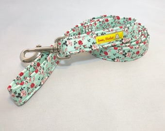 Turqoise Dog Leash · Floral Dog Leash · Fabric Leash · Soft Dog Leash · Flower Print Dog Leash · Mint Dog Leash · Turquoise Leash