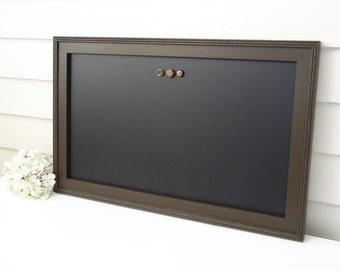 "Elegant Magnetic Chalkboard - Bulletin Board Magnet Board with Handmade Hardwood Frame Office Organizer Wet Erase in Espresso Brown 15 x 22"""