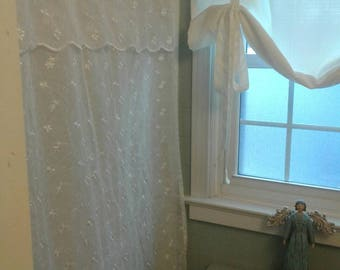 White lace shower curtain....embroidered white flowers....scalloped bottom edge...French country...shabby cottage
