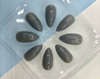 Stiletto Glossy Grey False Fake Nails  Falsies / 24 Nails