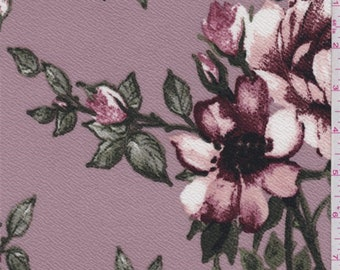 Dusty Mauve Floral Crepe Knit, Fabric By The Yard