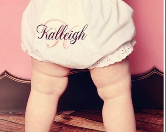 Monogrammed Baby Bloomers ~ Personalized Diaper Cover ~ Monogrammed Diaper Cover ~ Personalized Bloomers ~ Monogrammed Bloomer - Quick Ship