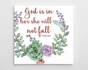 """Christian wall art - Bible Verse Quote - Psalm 46:5 - """"God is in her"""" motivational Quotes on Canvas - Wall Decor - Inspirational Quotes"""