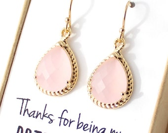 Blush Pink / Gold Rope Rim Bridesmaid Earrings - Blush Pink Earring - Pink Earings - Bridesmaid Jewelry - Thanks for being my bridesmaid ER1