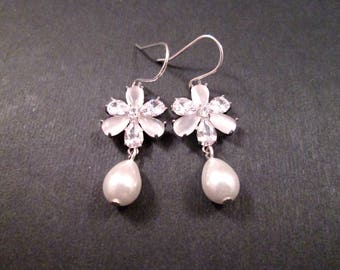 Pearl Earrings, Cubic Zirconia and Moonstone Flowers, White and Silver Dangle Earrings, FREE Shipping U.S.