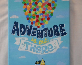 Adventure is Out There Disney/Pixar's UP 8x10 Canvas Wall Art, Dorm Decor, Nursery Decor