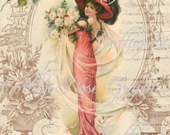 Victorian Romance Lady Large digital download ECS buy 3 get one free Pink ROSES single image