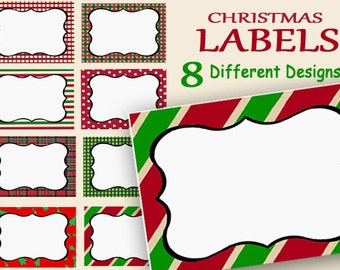 Christmas Labels Printable, Holiday Name Tags, Food Labels, Party Labels, Jar Labels, Digital Gift Tags, red green Place Cards, printable