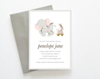 Elephant Baby Sprinkle Invitations, Printable Baby Sprinkle Invitations, Baby Sprinkle Invites, Unique Baby Sprinkle Invitations, Elephant